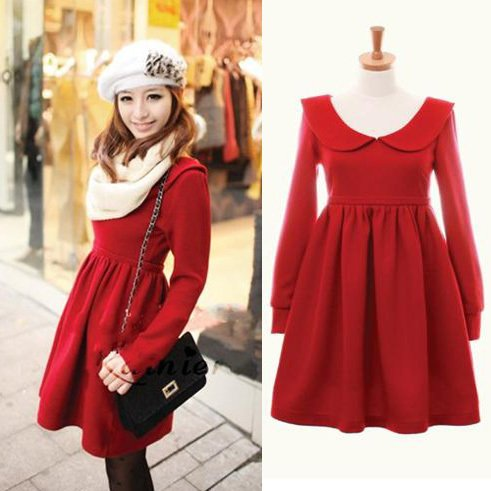 Korea style fashion new winter clothing elegance high waist red mini dresses j9012 roxana boldea Fashion solitaire winter style